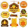 Set von Honig und Bienen Etiketten, Abzeichen, Embleme