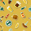 Nahtloses Muster mit Bier Aufkleber Symbole und Objekte