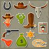 Векторный клипарт: Дикий Запад ковбой объектов и набор наклеек