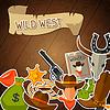 Векторный клипарт: Дикий Запад фон с объектами ковбойские и