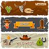 Векторный клипарт: Дикий Запад баннеры с объектами ковбойские и наклейки