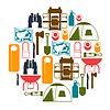Tourist Hintergrund mit Campingausrüstung in Flach