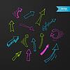 Векторный клипарт: Красочные стрелки установите на темном фоне