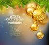 Векторный клипарт: Новогодние шары на деревянных фоне