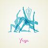 Векторный клипарт: Йога создает силуэт набор