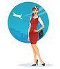 Векторный клипарт: Девушка в стюардесса форме