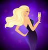 Векторный клипарт: Элегантность блондинка с шампанским