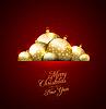Векторный клипарт: Рождественская открытка с фоном шары