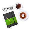 Szene mit Notizbuch und Kaffee