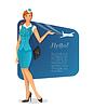 Mädchen in Stewardess einheitliche