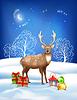 Векторный клипарт: Рождество Зимняя ночь Фон