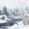 Векторный клипарт: Зимний Digital Акварель Пейзаж