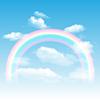 Векторный клипарт: Радуга, небо и облака