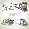 Logistik und Lieferung Skizze Symbole Set. illus