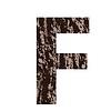 Buchstabe F aus Eichenrinde