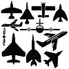 Silhouetten Flugzeug | Stock Vektrografik