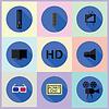 Reihe von Medien-Flach Symbole