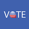 Векторный клипарт: США Выборы Голосование Кнопка