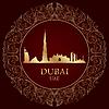 Dubai Skyline Silhouette auf Vintage-Hintergrund