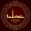 Dubai Skyline Silhouette auf Vintage-Hintergrund | Stock Vektrografik