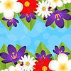 Фон для дизайна с красивыми цветами | Векторный клипарт