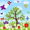 Blumenlichtung, Baum und bunte Schmetterlinge