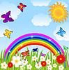 꽃 잎, 나비와 밝은 무지개 | Stock Vector Graphics