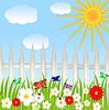 Blumenlichtung, blauer Himmel und Sonne