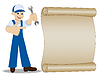 Mann Schlosser mit Schraubenschlüssel in der Hand zeigt auf altem Papier