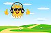 Sommerlandschaft mit fröhlichen Sonne in Headsets