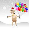fröhlich Ziege in der Weihnachtsschutzkappe mit Luft Murmeln