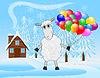 fröhlich Schafe mit Luft Murmeln auf Hintergrund Winter