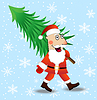 Weihnachtsmann trägt grünen Weihnachtsbaum