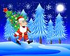 Weihnachtsmann trägt geschmückten Weihnachtsbaum
