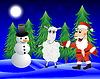 Weihnachtsmann, Schafen und Schneemann im Winterwald