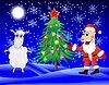 Weihnachtsmann, Schafe und Weihnachtsbaum im Winter