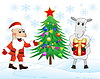 Weihnachtsmann, Schafe und Weihnachtsbaum