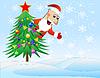 Santa Claus verkleidet Weihnachtsbaum mit Kugeln
