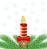 촛불, 녹색 분기와 우편 축제 | Stock Vector Graphics