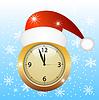 Uhr in Weihnachten roten Kappe