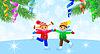 Дети на коньках и ветви елки | Векторный клипарт