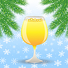 Glas Champagner und Zweig der Weihnachtsbaum