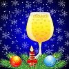 Glas Champagner, Zweig der Weihnachtsbaum, candl