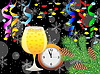 Weihnachtspost mit einem Glas Champagner, Uhr