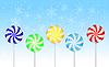 Векторный клипарт: Конфеты, леденцы на синем фоне