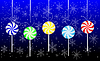 Векторный клипарт: Конфеты леденцы повесить на синем фоне