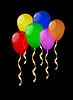 Векторный клипарт: яркие шарики воздушные на черном фоне