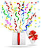 Векторный клипарт: подарочная коробка с ярким серпантином