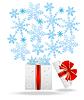 Векторный клипарт: подарочная коробка с голубой снежинки