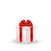 Векторный клипарт: подарочная коробка с красной лентой